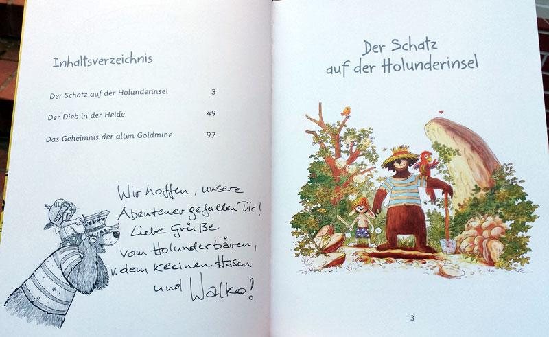 Hase & Holunderbär mit einer Originalzeichnung von Walko