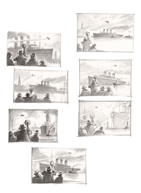 Torben Kuhlmann - Entdeckung am Hafen-Skizzen