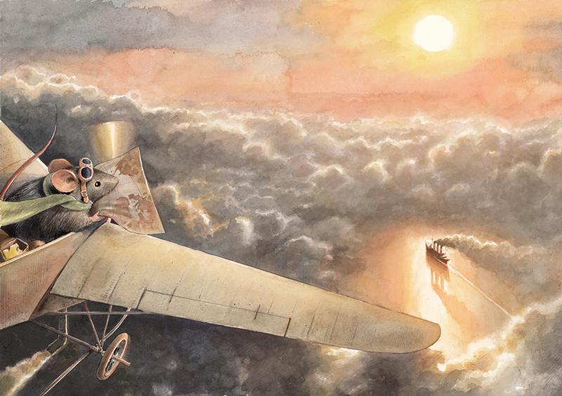 Illustration aus Lindbergh von Torben Kuhlmann - Atlantikflug