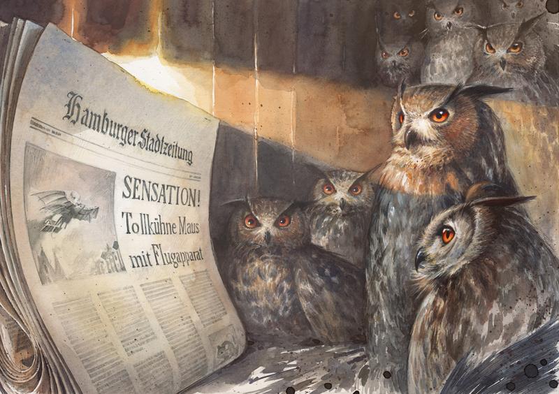 Illustration aus Lindbergh von Torben Kuhlmann - Eulenverschwörung